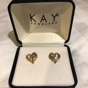 Like New Gold Hearts with Diamonds Earrings